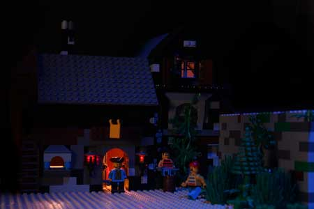Ponder Pictures: Inn set built out of LEGOs for scene 2 of our new stop-motion animation film.
